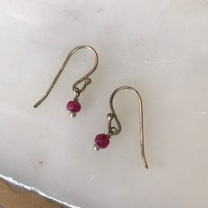 Jewelry - Small ruby drop earrings